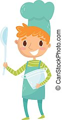 Teen-Junge in Schürze und Kochmütze mit Kürbis und Soße. Kinder träumen davon, berühmt zu werden und ein eigenes Restaurant zu eröffnen. Rollenspiel. Karrieretag in der Schule. Flat Vektordesign