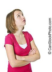 Teenage-Mädchen schaut auf.