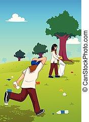 Teenager, die Müll im Park abholen.