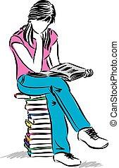 Teenager-Mädchen sitzen und lesen Buch Illustrationen.