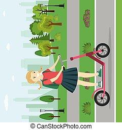 teenager, m�dchen, park, kaukasier, motorroller