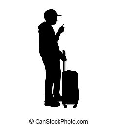teenager, stehende , koffer, junge, silhouette