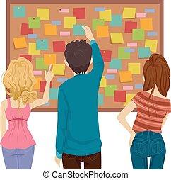 Teens posting notes board Illustration.