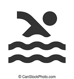 teich, schwimmender, ikone