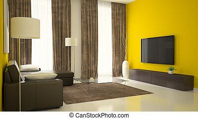 Teil 3 der Innenausstattung mit gelben Wänden.