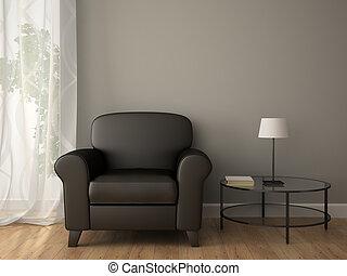 Teil des Interieurs mit Sessel.