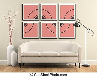 Teil des Interieurs mit Sofa, Lampe und Vasen 3D Rendering.
