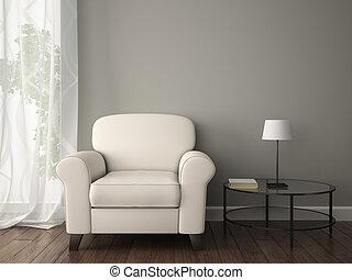 Teil des Interieurs mit weißem Sessel.