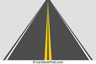 teilen, 10, asphaltstraße, eps, führen, entfernung, durchsichtig, hintergrund., streifen