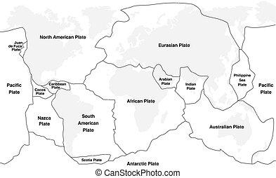 tektonisch, namen, platten