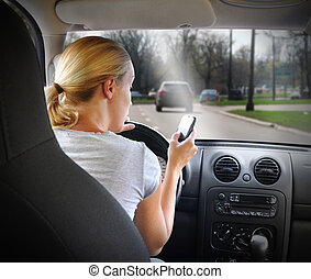 telefon, fahren, frau, auto, texting
