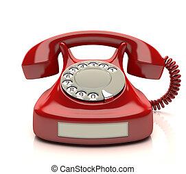 telefon, rotes , etikett