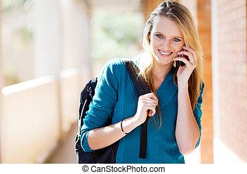 telefon, universität, klug, schueler, sprechende