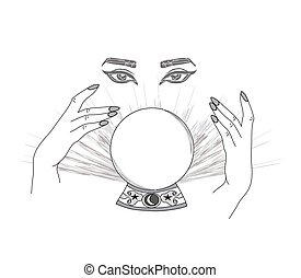 teller., gezeichnet, auge, vorsehung, magisches, kristall ball, hände, vermögen, hand