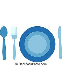 Teller mit Gabel, Messer und Löffel isoliert auf weißem Hintergrund.