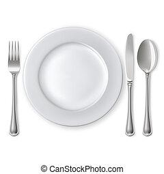 Teller mit Löffel, Messer und Gabel