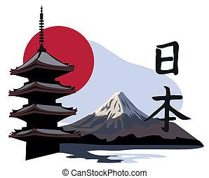 tempel, pagode, fuji