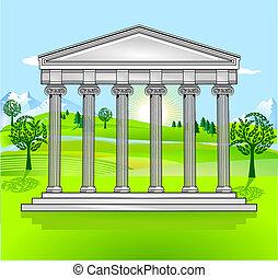 Tempel und freie Landschaft