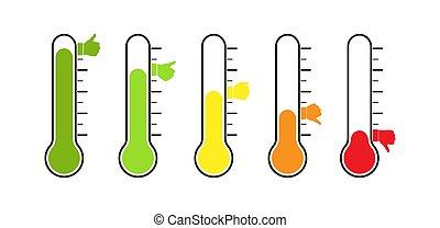 temperature., thermometer, reflexion, voting., grade, gefuehle, stimmung, oder, verschieden, satz