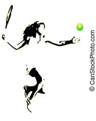 tennis, silhouette, spieler