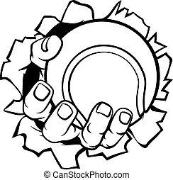 Tennisball-Hand reißt Hintergrund