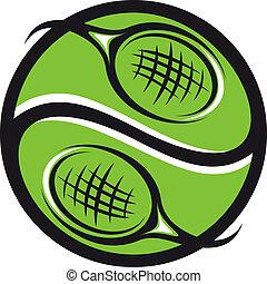 Tennisball mit Schläger-Ikone.