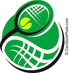 Tennisball und Racquet Icon.