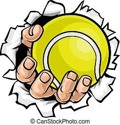 Tennisballhand reißt den Hintergrund