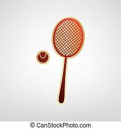 Tennisschläger mit Ballzeichen. Vector. Rotes Icon auf Goldaufkleber im hellgrauen Hintergrund.