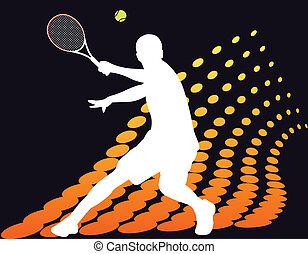 Tennisspieler auf abstraktem Halbton.