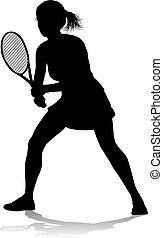 tennisspieler, frau, silhouette, sport