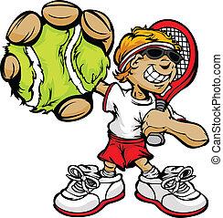 Tennisspieler mit Schläger und Ball.