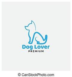 terrier, russell, linie, logo, modern, hund, design