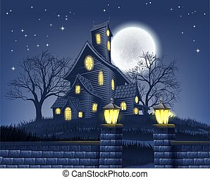 terrorisiert, hintergrund, haus, halloween