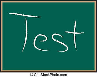 TEST-Wörter auf Kreidetafel