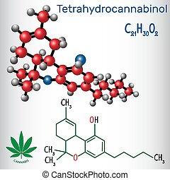 Tetrahydrocannabinol (THC) - strukturelle chemische Formel und Molekülmodell. Ist der wichtigste psychoaktive Bestandteil von Cannabis