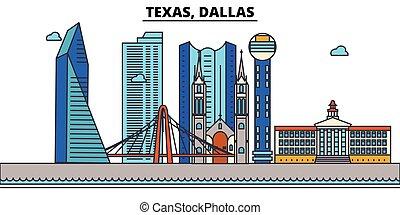 Texas, Dallas.Stadt Skyline: Architektur, Gebäude, Straßen, Silhouette, Landschaft, Panorama, Wahrzeichen, Ikonen. Bearbeitende Striche. Flat Designlinie Vektorgrafik Konzept.