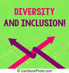 Textzeichen zeigen Vielfalt und Integration. Konzeptueller Huanalyseunterschied beinhaltet Rassenethik Geschlecht Two Arrows, wo man als Team Up oder Wettbewerb miteinander verflochten ist.