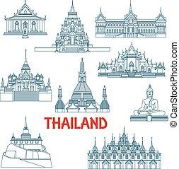 Thai travel monuments Thin Line Icons.