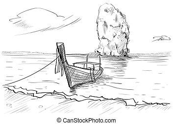 Thailand Landschaft, Fels, lange Heck-Boot-Meerlandschaft gezeichnet.