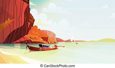 Thailand Landschaft langes Boot Meerscape schöne asiatischen Strand Blick.