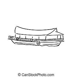 thailand, langer, gezeichnet, hand, schwanz, boot, reise, concept., vektor, illustration.