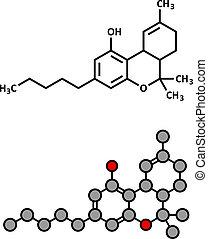 THC (delta-9-tetrahydrocannabinol, Dronabinol) Cannabis Drogenmolekül.