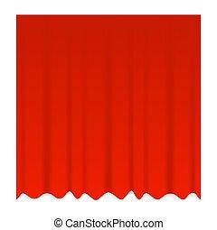 theater, roter vorhang, vektor, schließen, realistisch, blaues