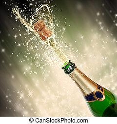 thema, spritzen, feier, champagner