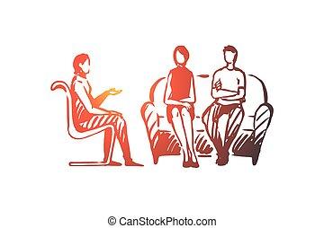 therapie, paar, concept., freigestellt, vector., psychologe, problem, beziehung, hand, gezeichnet
