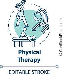 therapie, physisch, begriff, ikone