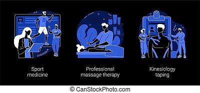 therapie, physisch, begriff, illustrations., abstrakt, vektor