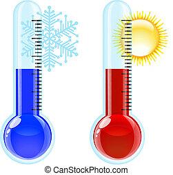 Thermometer heiße und kalte Ikone.