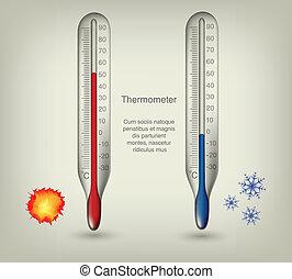 Thermometer Icons mit warmen und kalten Temperaturen.